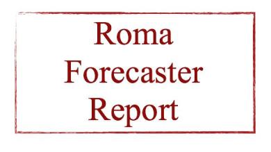 Il 5° numero del ROMA FORECASTER REPORT e' disponibile!!!